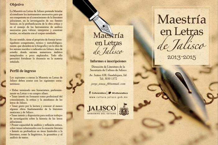 Convoca la SC a la Maestría en Letras de Jalisco